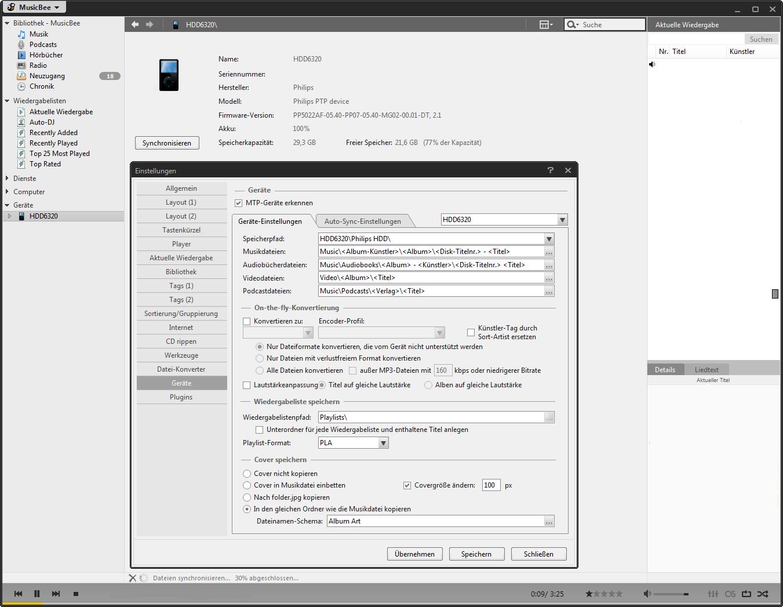 Philips HDD6320 mit MusicBee synchronisieren