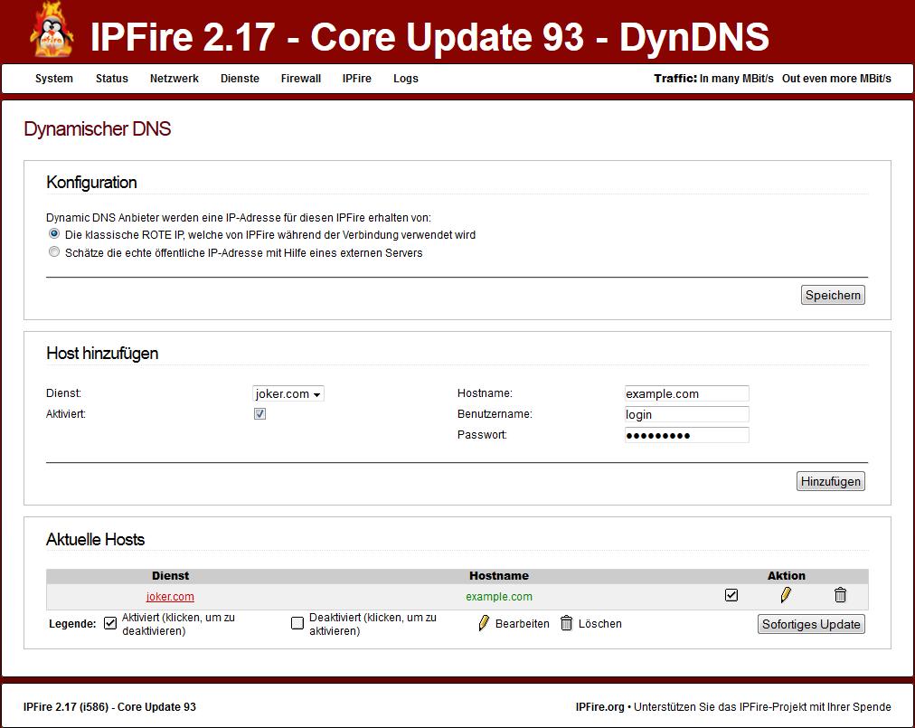 IPFire Dynamic DNS jetzt mit Joker.com