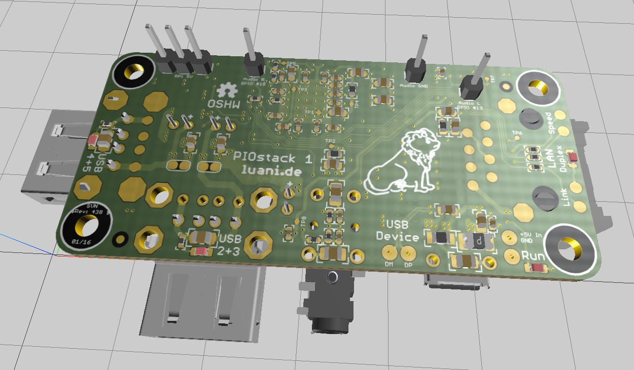 PIOstack 1: LAN, USB Hub & Audio für Raspberry Pi Zero